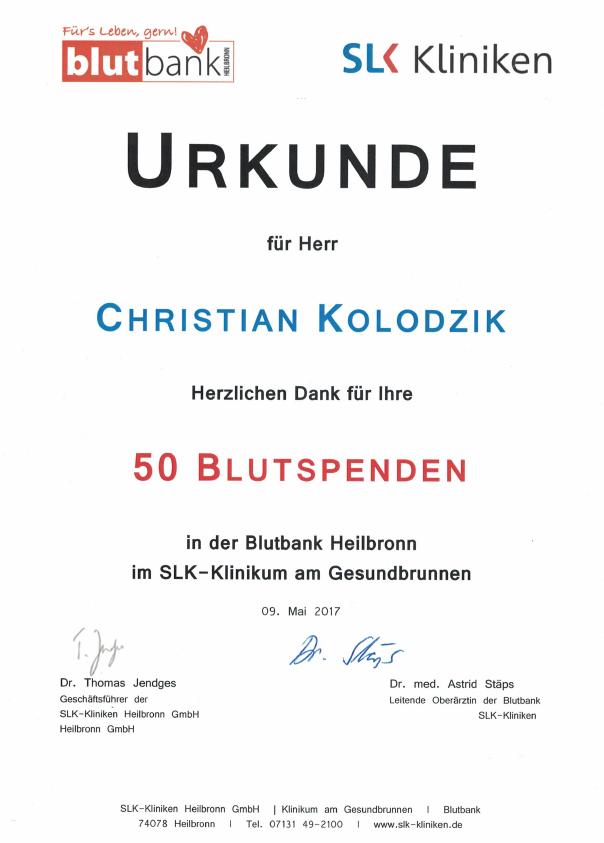 Urkunde 50. Blutspende Christian Kolodzik