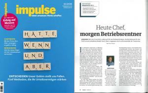 """Bereits zum zweiten Mal – Experten-Interview mit """"Impulse"""" – """"Heute Chef, morgen Betriebsrentner"""" und """"Chefrente-Checkliste"""""""
